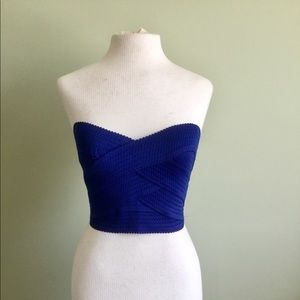 Strapless Blue Knit Top From Express Brand New XS